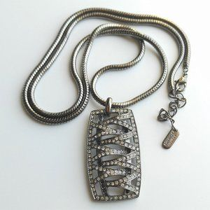 A|X Gunmetal Pavé Crystal Snake Chain Necklace